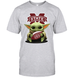 Baby Yoda Hug Mississippi State Bulldogs The Mandalorian T-Shirt