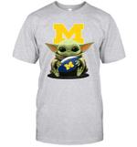 Baby Yoda Hug Michigan Wolverines The Mandalorian T-Shirt