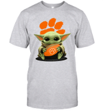 Baby Yoda Hug Clemson Tigers The Mandalorian T-Shirt