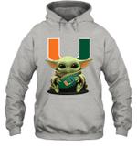 Baby Yoda Hug Miami Hurricanes The Mandalorian Hoodie