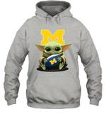 Baby Yoda Hug Michigan Wolverines The Mandalorian Hoodie