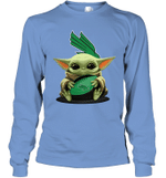 Baby Yoda Hug North Texas Mean Green The Mandalorian Long Sleeve T-Shirt