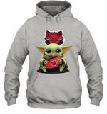 Baby Yoda Hug Arkansas State Red Wolves The Mandalorian Hoodie