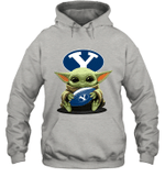Baby Yoda Hug Brigham Young Cougars The Mandalorian Hoodie