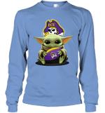 Baby Yoda Hug East Carolina Pirates The Mandalorian Long Sleeve T-Shirt