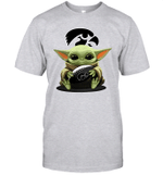Baby Yoda Hug Iowa Hawkeyes The Mandalorian T-Shirt