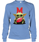 Baby Yoda Hug Maryland Terrapins The Mandalorian Long Sleeve T-Shirt