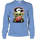 Baby Yoda Hug Georgia Bulldogs The Mandalorian Long Sleeve T-Shirt