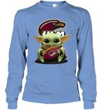 Baby Yoda Hug Louisiana Monroe Warhawks The Mandalorian Long Sleeve T-Shirt