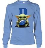 Baby Yoda Hug Duke Blue Devils The Mandalorian Long Sleeve T-Shirt