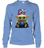 Baby Yoda Hug Liberty Flames The Mandalorian Long Sleeve T-Shirt