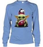 Baby Yoda Hug Northern Illinois Huskies The Mandalorian Long Sleeve T-Shirt