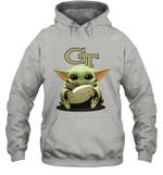 Baby Yoda Hug Georgia Tech Yellow Jackets The Mandalorian Hoodie