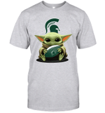 Baby Yoda Hug Michigan State Spartans The Mandalorian T-Shirt