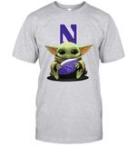 Baby Yoda Hug Northwestern Wildcats The Mandalorian T-Shirt