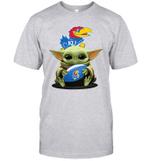 Baby Yoda Hug Kansas Jayhawks The Mandalorian T-Shirt