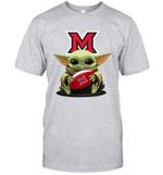 Baby Yoda Hug Miami Redhawks The Mandalorian T-Shirt