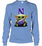Baby Yoda Hug Northwestern Wildcats The Mandalorian Long Sleeve T-Shirt