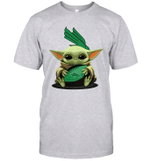 Baby Yoda Hug North Texas Mean Green The Mandalorian T-Shirt