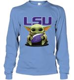 Baby Yoda Hug LSU Tigers The Mandalorian Long Sleeve T-Shirt