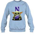 Baby Yoda Hug Northwestern Wildcats The Mandalorian Sweatshirt