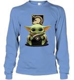 Baby Yoda Hug Army Black Knights The Mandalorian Long Sleeve T-Shirt