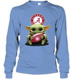 Baby Yoda Hug Alabama Crimson Tide The Mandalorian Long Sleeve T-Shirt