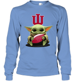 Baby Yoda Hug Indiana Hoosiers The Mandalorian Long Sleeve T-Shirt