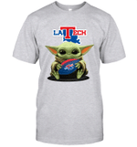 Baby Yoda Hug Louisiana Tech Bulldogs The Mandalorian T-Shirt