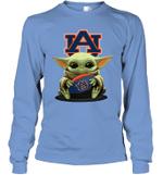 Baby Yoda Hug Auburn Tigers The Mandalorian Long Sleeve T-Shirt