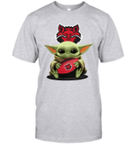 Baby Yoda Hug Arkansas State Red Wolves The Mandalorian T-Shirt