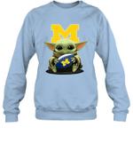 Baby Yoda Hug Michigan Wolverines The Mandalorian Sweatshirt