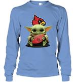 Baby Yoda Hug Louisville Cardinals Cardinals The Mandalorian Long Sleeve T-Shirt