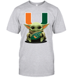 Baby Yoda Hug Miami Hurricanes The Mandalorian T-Shirt