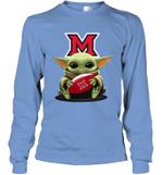 Baby Yoda Hug Miami Redhawks The Mandalorian Long Sleeve T-Shirt