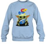 Baby Yoda Hug Kansas Jayhawks The Mandalorian Sweatshirt
