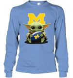 Baby Yoda Hug Michigan Wolverines The Mandalorian Long Sleeve T-Shirt