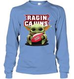 Baby Yoda Hug Louisiana Ragin_ Cajuns The Mandalorian Long Sleeve T-Shirt