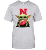 Baby Yoda Hug Nebraska Cornhuskers The Mandalorian T-Shirt