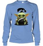 Baby Yoda Hug Iowa Hawkeyes The Mandalorian Long Sleeve T-Shirt