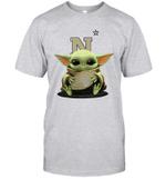 Baby Yoda Hug Navy Midshipmen The Mandalorian T-Shirt