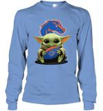 Baby Yoda Hug Boise State Broncos The Mandalorian Long Sleeve T-Shirt