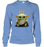 Baby Yoda Hug Navy Midshipmen The Mandalorian Long Sleeve T-Shirt