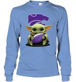 Baby Yoda Hug Kansas State Wildcats The Mandalorian Long Sleeve T-Shirt