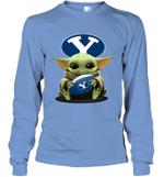 Baby Yoda Hug Brigham Young Cougars The Mandalorian Long Sleeve T-Shirt