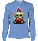 Baby Yoda Hug Ball State Cardinals The Mandalorian Long Sleeve T-Shirt