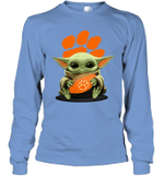 Baby Yoda Hug Clemson Tigers The Mandalorian Long Sleeve T-Shirt