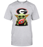 Baby Yoda Hug Georgia Bulldogs The Mandalorian T-Shirt