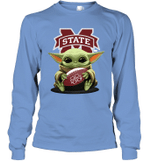 Baby Yoda Hug Mississippi State Bulldogs The Mandalorian Long Sleeve T-Shirt