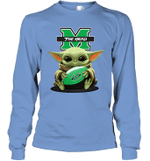 Baby Yoda Hug Marshall Thundering Herd The Mandalorian Long Sleeve T-Shirt
